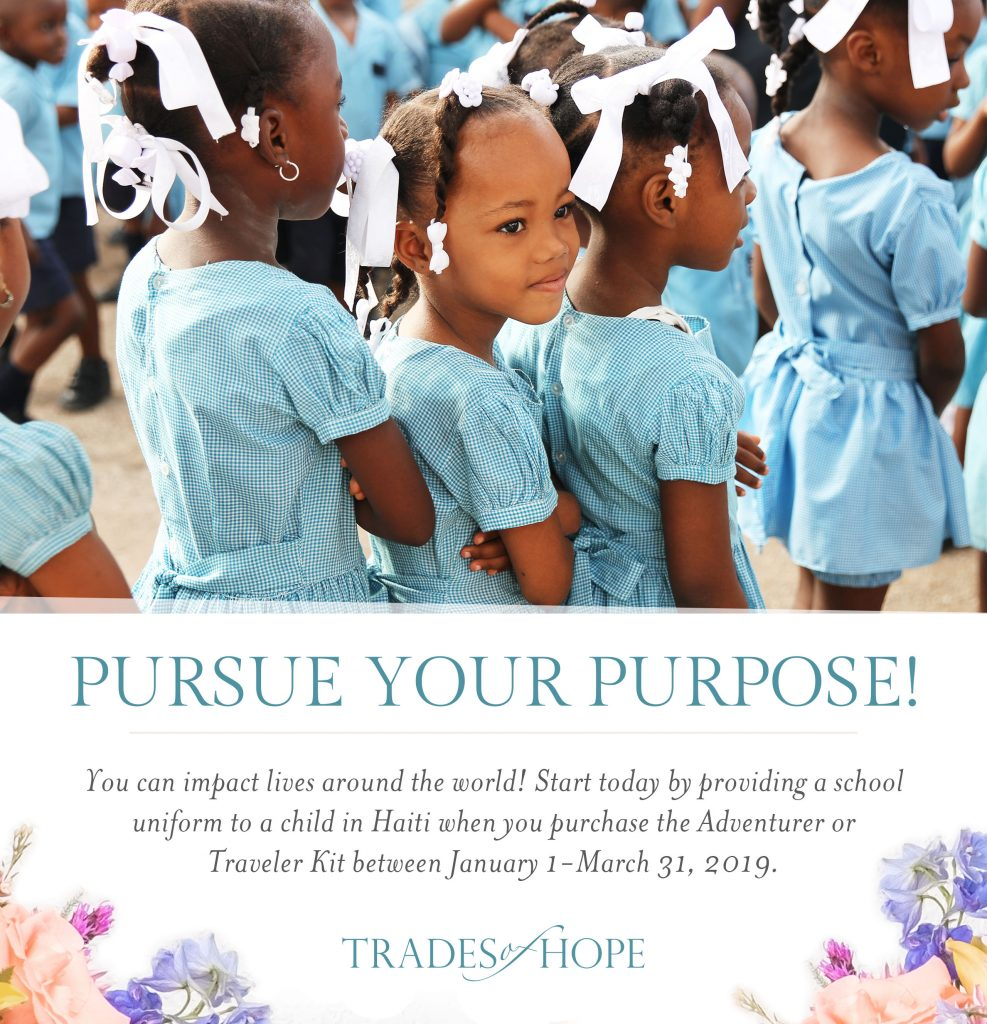 Find out how YOU can provide a school uniform to a child in Haiti with Trades of Hope! Start your business that impacts people all around the globe with Trades of Hope today! Click to read and email tawnyandluke@pursuitofpalms.com with any questions you may have about this incentive! #tradesofhope #directsales #fairtrade #ethical