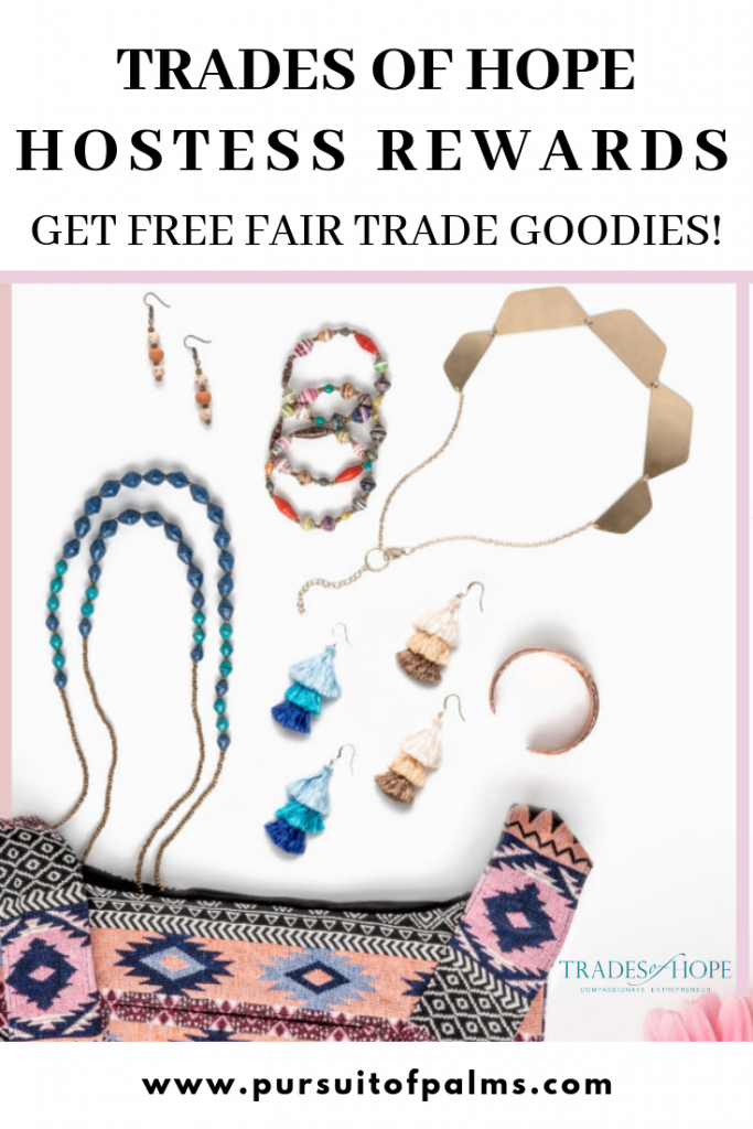 Want to know about Trades of Hope hostess rewards? Looking for details on how to earn free fair trade jewelry and home decor? Click to read all about Trades of Hope hostess rewards and how to earn without parties! Email tawnyandluke@pursuitofpalms.com for more information!